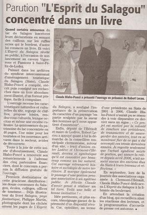 Article de presse au lancement de l'ouvrage Esprit du Salagou