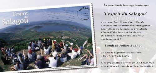 Carton d'invitation au lancement de l'ouvrage Esprit du Salagou